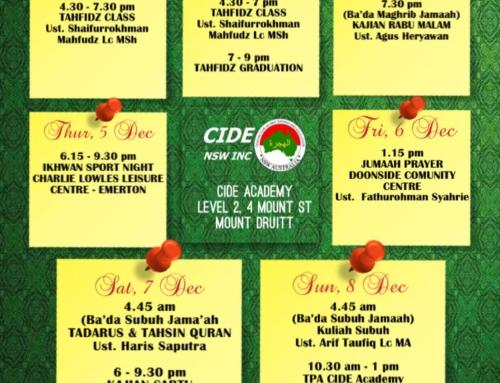 CIDE Academy Weekly Schedule 2019